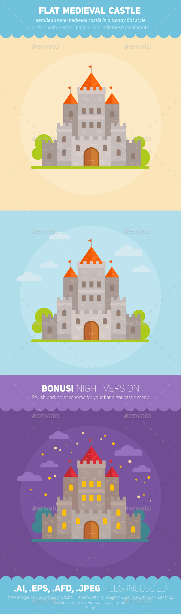 Medieval Flat Fantasy Castles - Buildings Objects