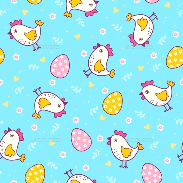Seamless Pattern with Easter Eggs and Chicken - Flowers & Plants Nature