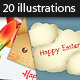 20 Easter Vector Illustrations Set - GraphicRiver Item for Sale