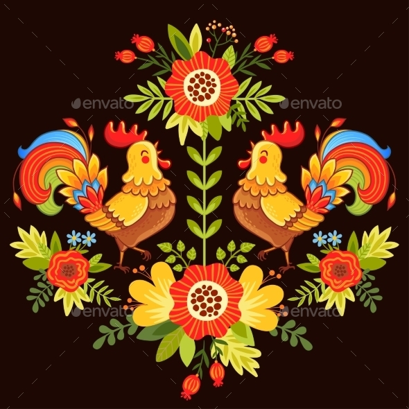 Ethnic Ornament with Flowers - Flowers & Plants Nature