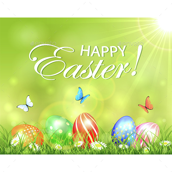 Easter Background with Eggs in Grass with Flowers - Miscellaneous Seasons/Holidays