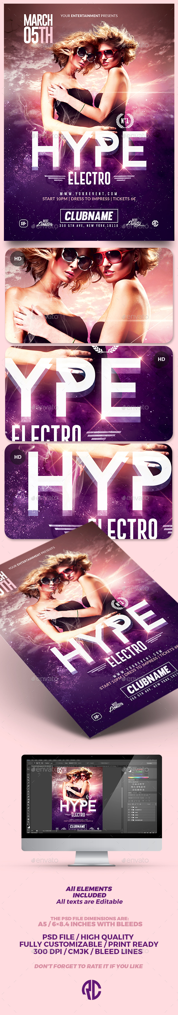 Hype Electro Flyer | Psd Template - Clubs & Parties Events