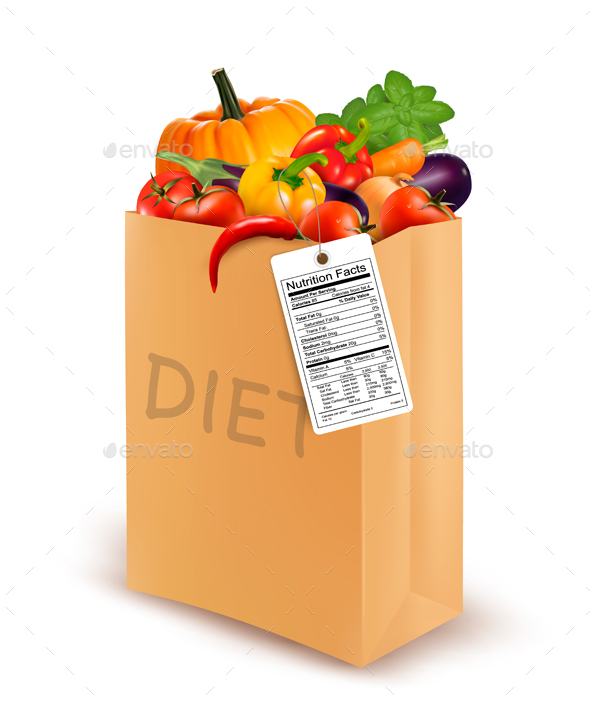 Diet Paper Bag with Vegetables and Nutritional Label - Food Objects