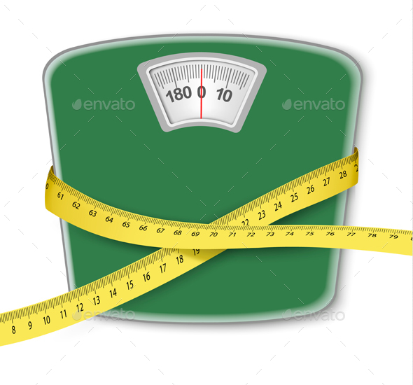 Weight Scale With a Measuring Tape Concept Of Diet - Health/Medicine Conceptual