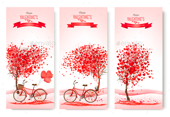 Three Valentines Day Banners - Valentines Seasons/Holidays