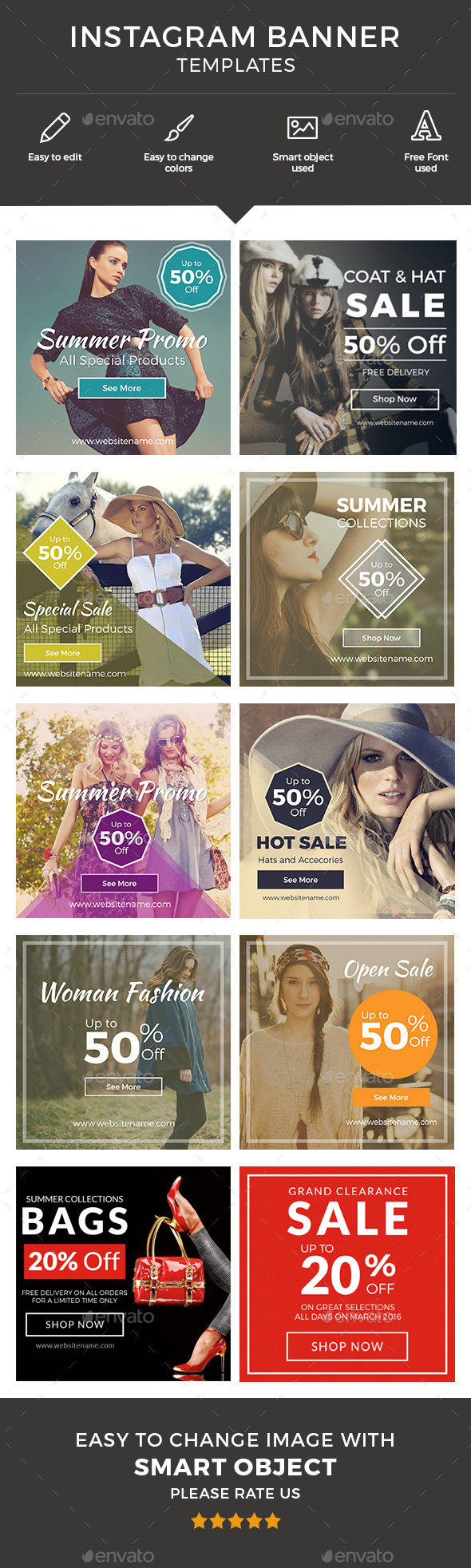 Instagram Banner Template - Banners & Ads Web Elements