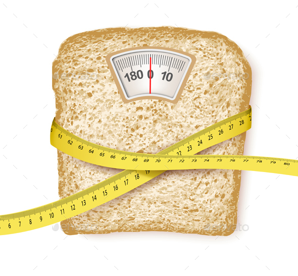 Weighing Scales in the Form of a Bread Slice - Health/Medicine Conceptual