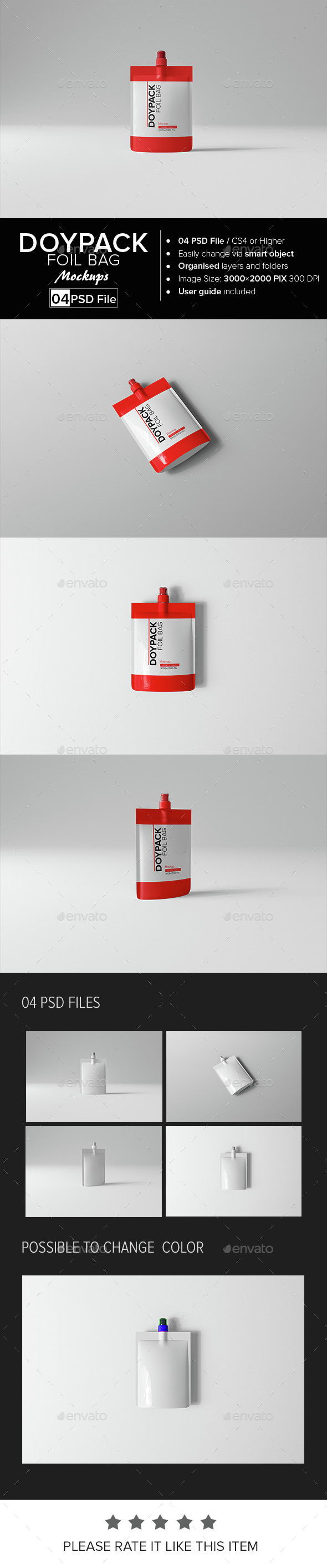 Doypack Foil Bag Mock-up - Food and Drink Packaging