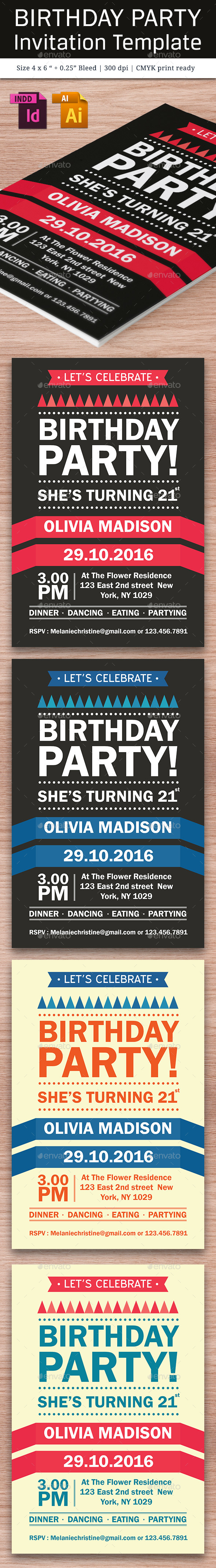 Birthday Party Invitation Template - Vol . 10 - Cards & Invites Print Templates