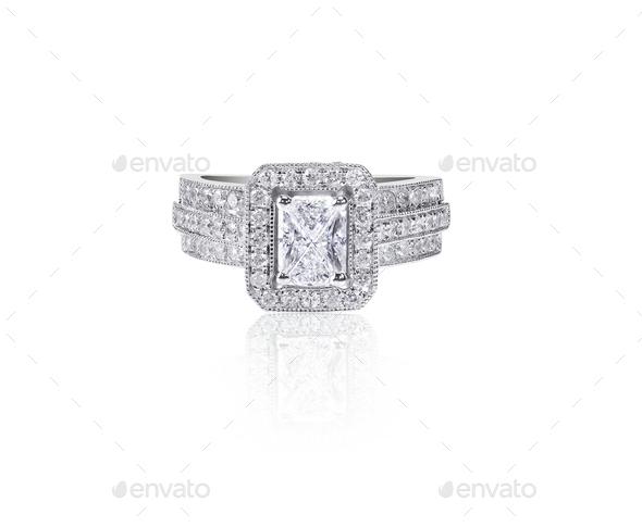 Large emerald cut Diamond Wedding band engagement ring - Stock Photo - Images