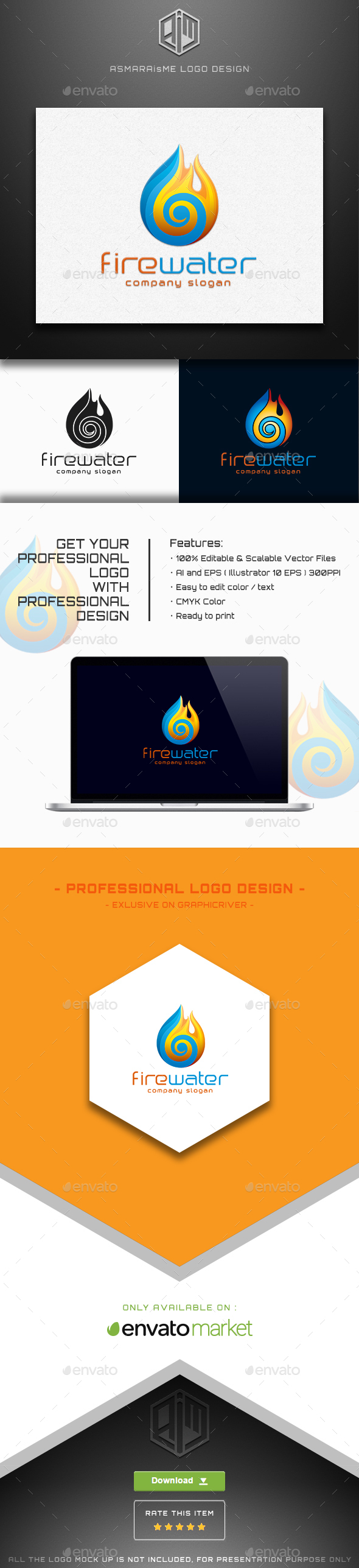 Fire Water Logo - Vector Abstract