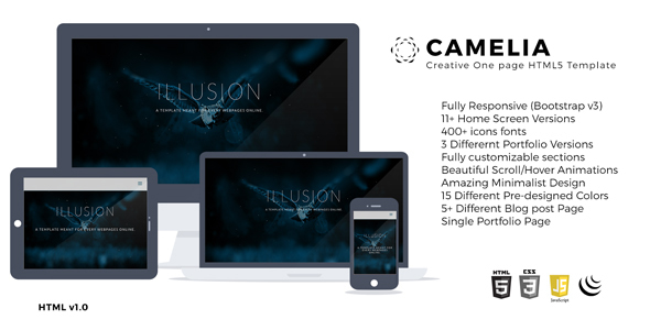 Camelia Responsive One Page Creative Template By Thecreo Themeforest