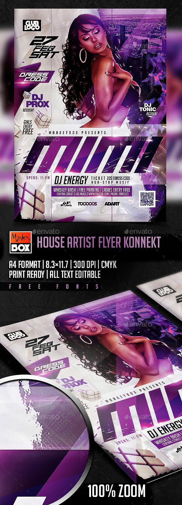 House Artist Flyer Konnekt - Clubs & Parties Events