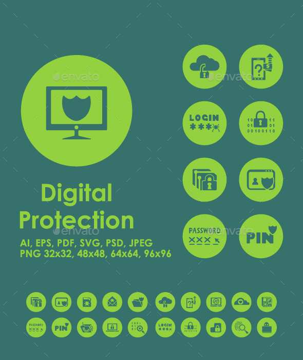 20 Digital Protection icons - Technology Icons