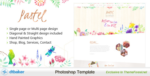 Pastel – Hand Painted Floral PSD
