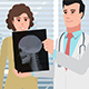 Cartoon Corporate / Doctor Man With Girl Patient And Xray Head - VideoHive Item for Sale