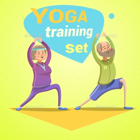 Yoga Retro Cartoon - Sports/Activity Conceptual