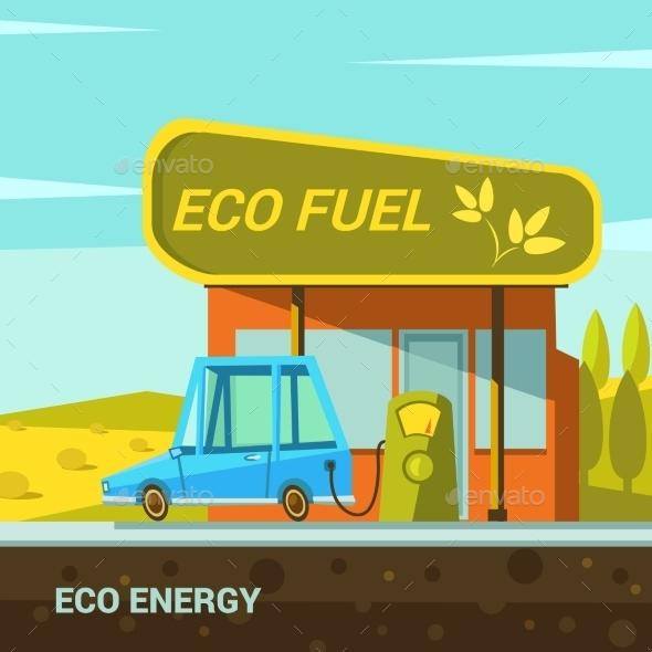 Ecological Energy Cartoon - Travel Conceptual
