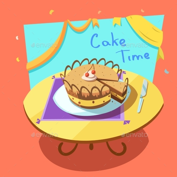 Bakery Cartoon Illustration - Food Objects