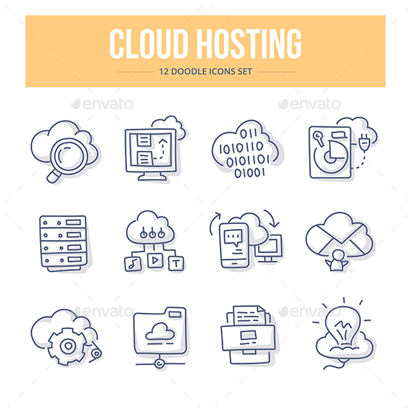 Cloud Hosting Doodle Icons - Technology Icons