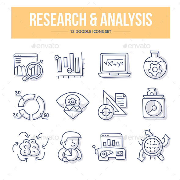 Research & Analysis Doodle Icons - Technology Icons
