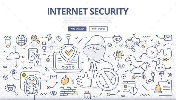 Internet Security Doodle Concept - Web Technology
