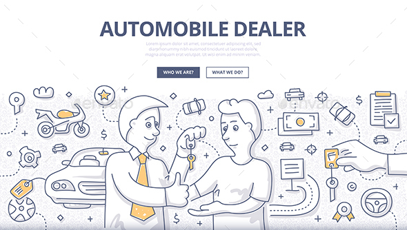 Auto Dealer Doodle Concept - Concepts Business