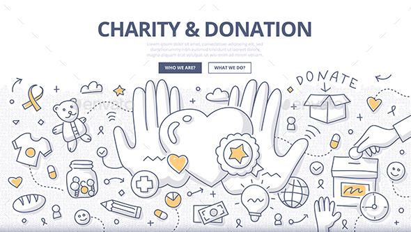 Charity & Donation Doodle Concept - Miscellaneous Conceptual