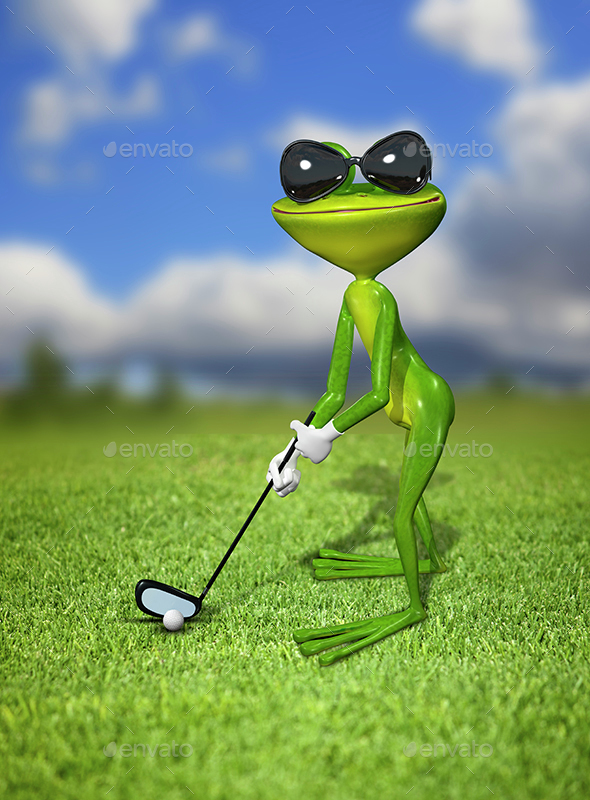 Green frog golfer - Characters 3D Renders