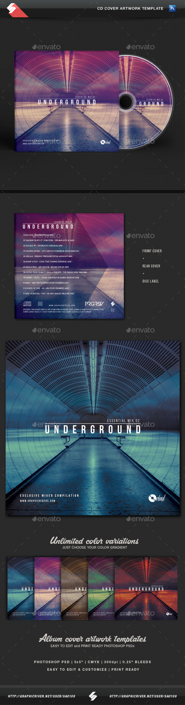 Underground - Essential Mix CD Cover Template - CD & DVD Artwork Print Templates