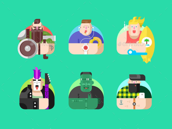 Avatar Design Flat Set - Miscellaneous Characters