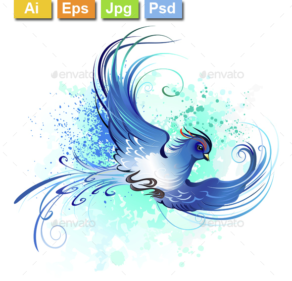 Watercolor Blue Bird - Tattoos Vectors