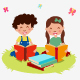 Cartoon Kids Read Book - GraphicRiver Item for Sale
