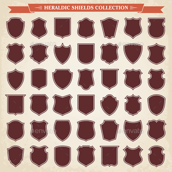 Heraldic Shields Silhouettes Set - Borders Decorative
