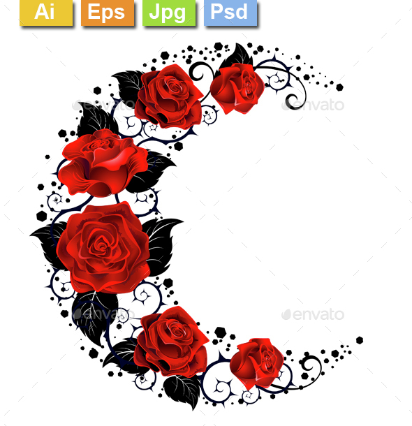 Moon of Red Roses - Tattoos Vectors