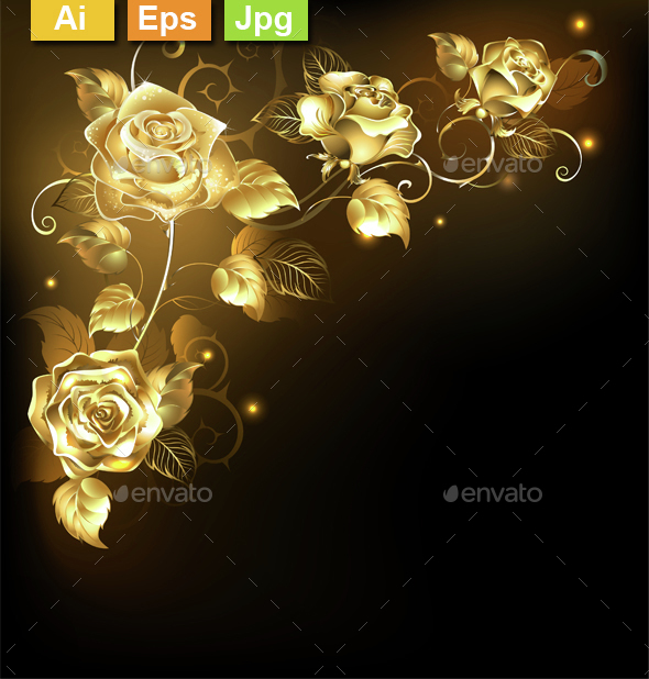 Gold Rose on Dark Background - Decorative Vectors