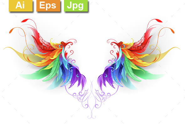 Fluffy Rainbow Wings - Decorative Symbols Decorative