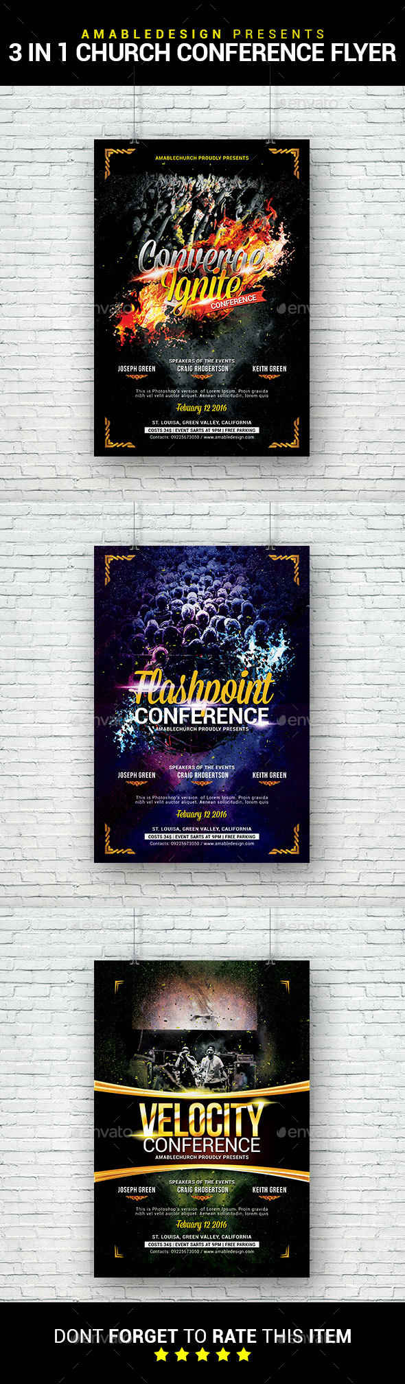 3 in 1 Church Conferences Flyer/Poster Bundle - Church Flyers