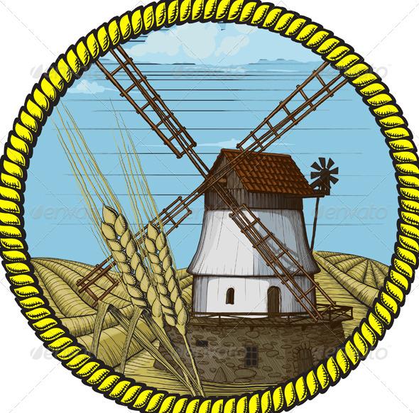 Label windmill drawn in a woodcut like method - Buildings Objects