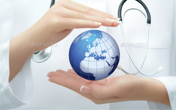 Doctor Holding  Earth - Health/Medicine Conceptual