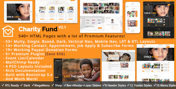 CharityFund – Nonprofit, Fundraising, Charity & Crowdfunding Responsive HTML5 Template