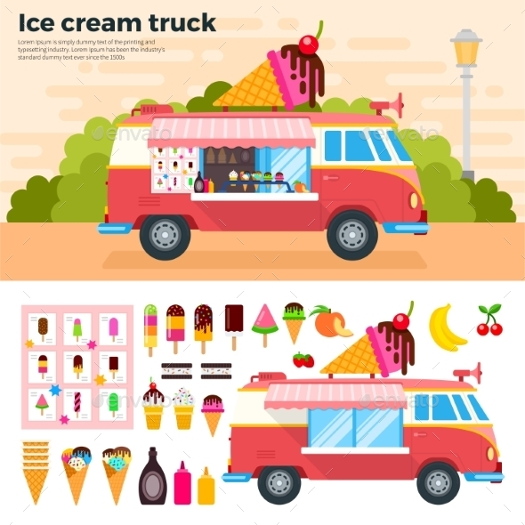 Ice Cream Truck on a Hot Day - Food Objects