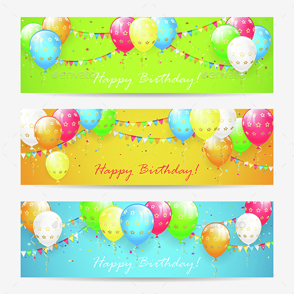 Colorful Birthday Cards with Balloons and Confetti - Birthdays Seasons/Holidays