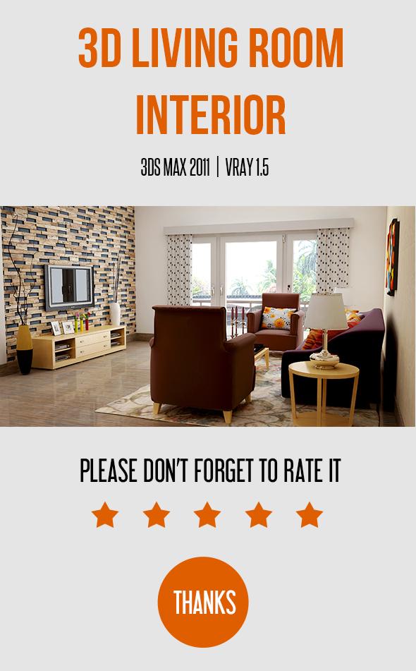 Living Room Interior - 3DOcean Item for Sale