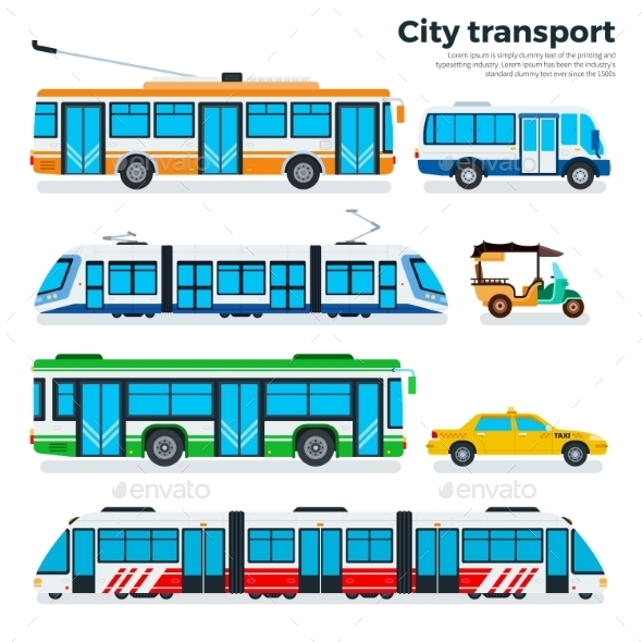 Types of City Transport Isolated on White - Travel Conceptual