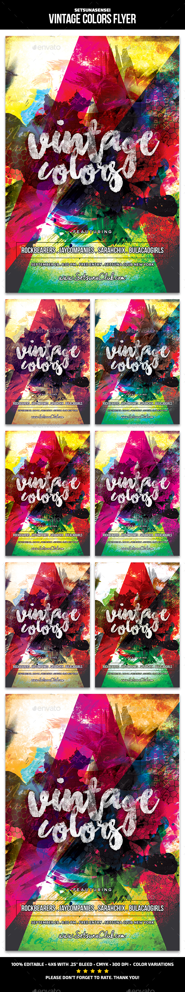 Vintage Colors Flyer - Clubs & Parties Events
