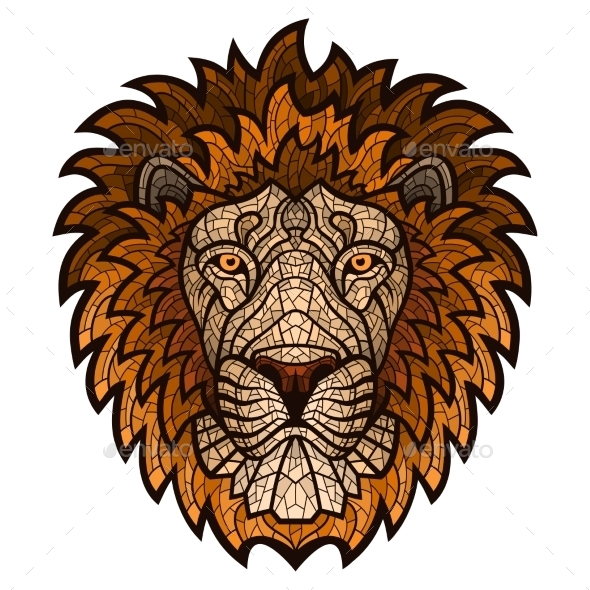 Ethnic Patterned Ornate Head of a Lion - Animals Characters
