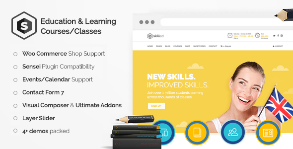 Skilled – School Education Courses WordPress Theme