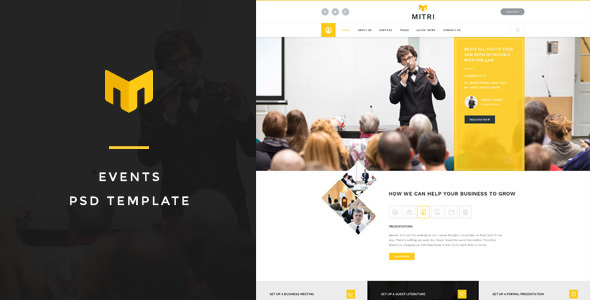 Mitri Events - Events & Conference PSD Template - Business Corporate