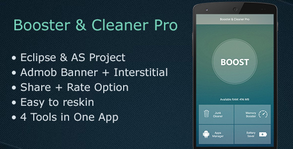 Booster & Cleaner Pro + Admob - CodeCanyon Item for Sale